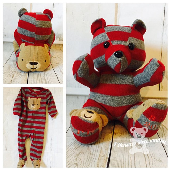 This wonderful memory bear by 4MonstersMerchandise transforms a cute onesie into an even more adorable teddy bear.