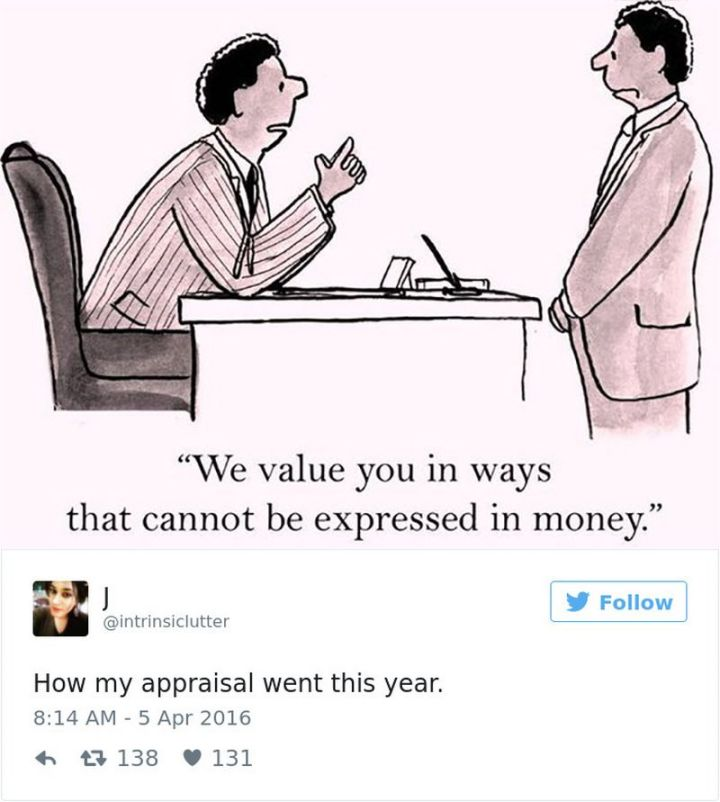 """47 Funny Work Memes - """"How my appraisal went this year."""""""