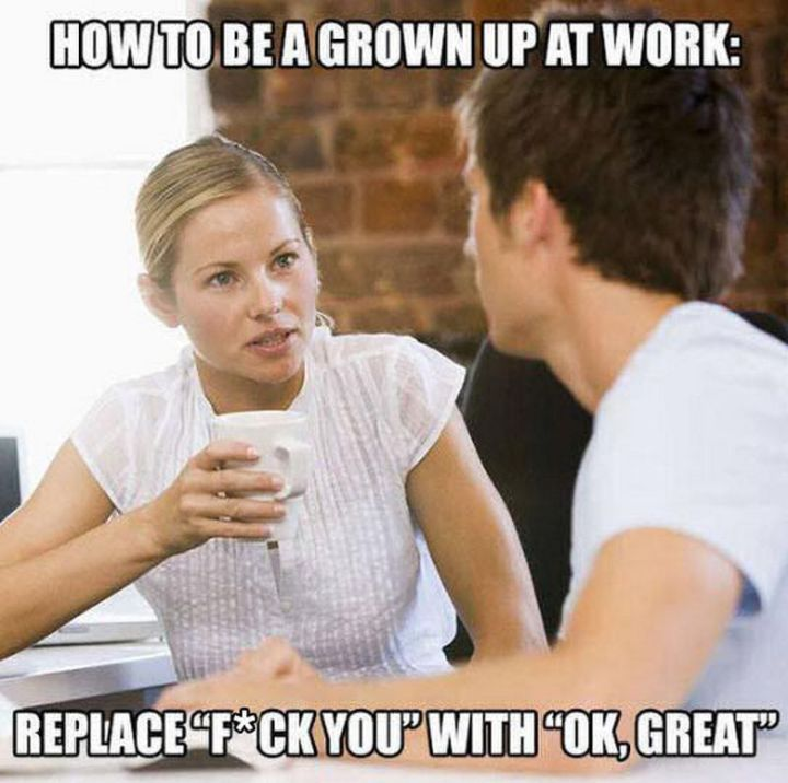 """47 Funny Work Memes - """"How to be grown up at work: Replace """"F*** You"""" with """"OK, great""""."""""""