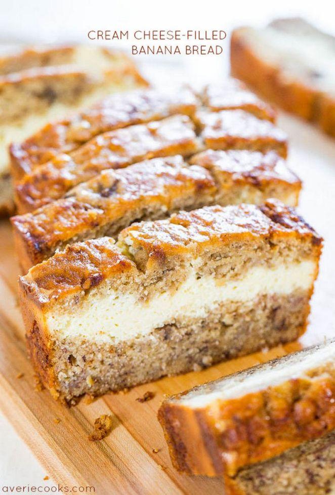 15 Easy Banana Bread Recipes - Cream Cheese-Filled Banana Bread.