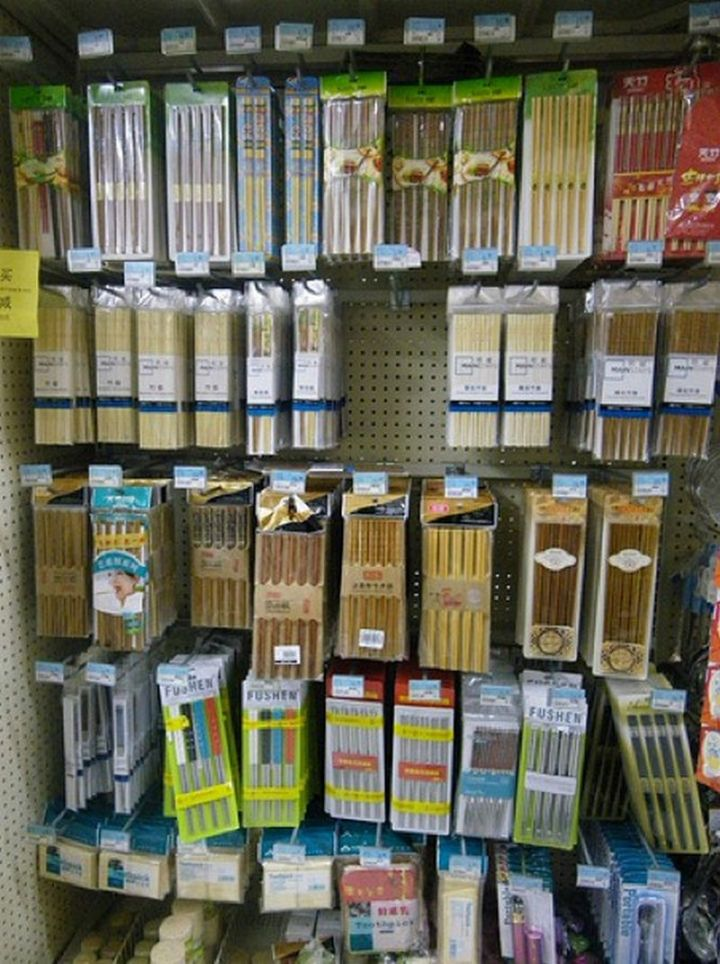 15 Items Sold at Walmart Stores in China - A large selection of chopsticks.