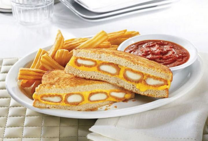 19 Ridiculous But Real Fast Food Items - Denny's Fried Cheese Melt Sandwich.
