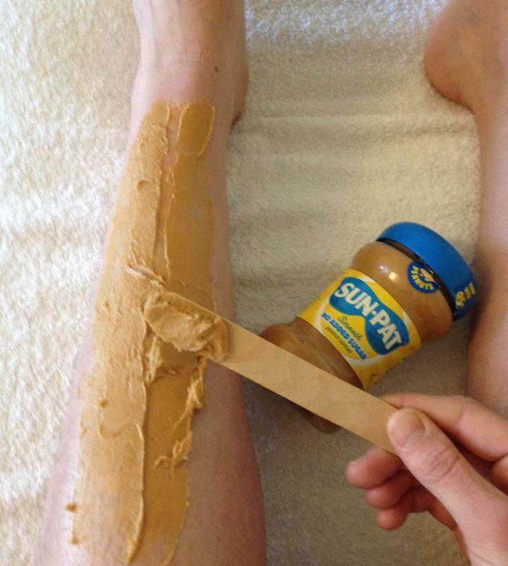 12 Peanut Butter Uses - Use peanut butter instead of shaving cream.