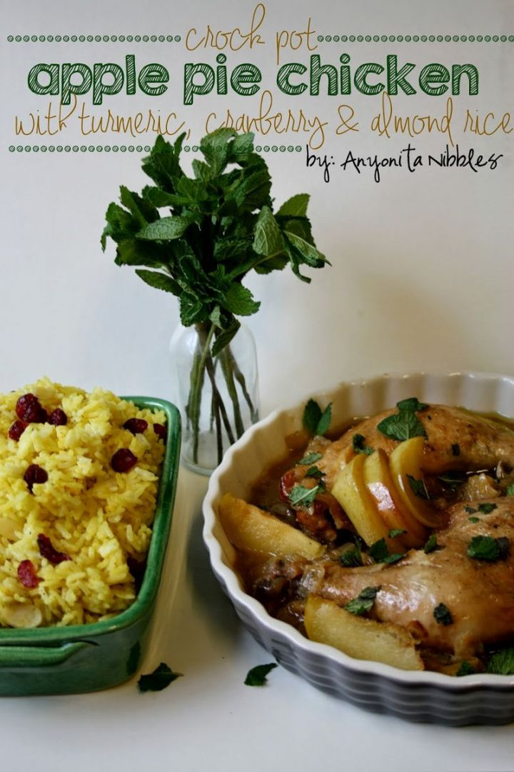 13 Crock-Pot Recipes - Crock-Pot Apple Pie Chicken with Turmeric, Cranberry & Almond Rice.