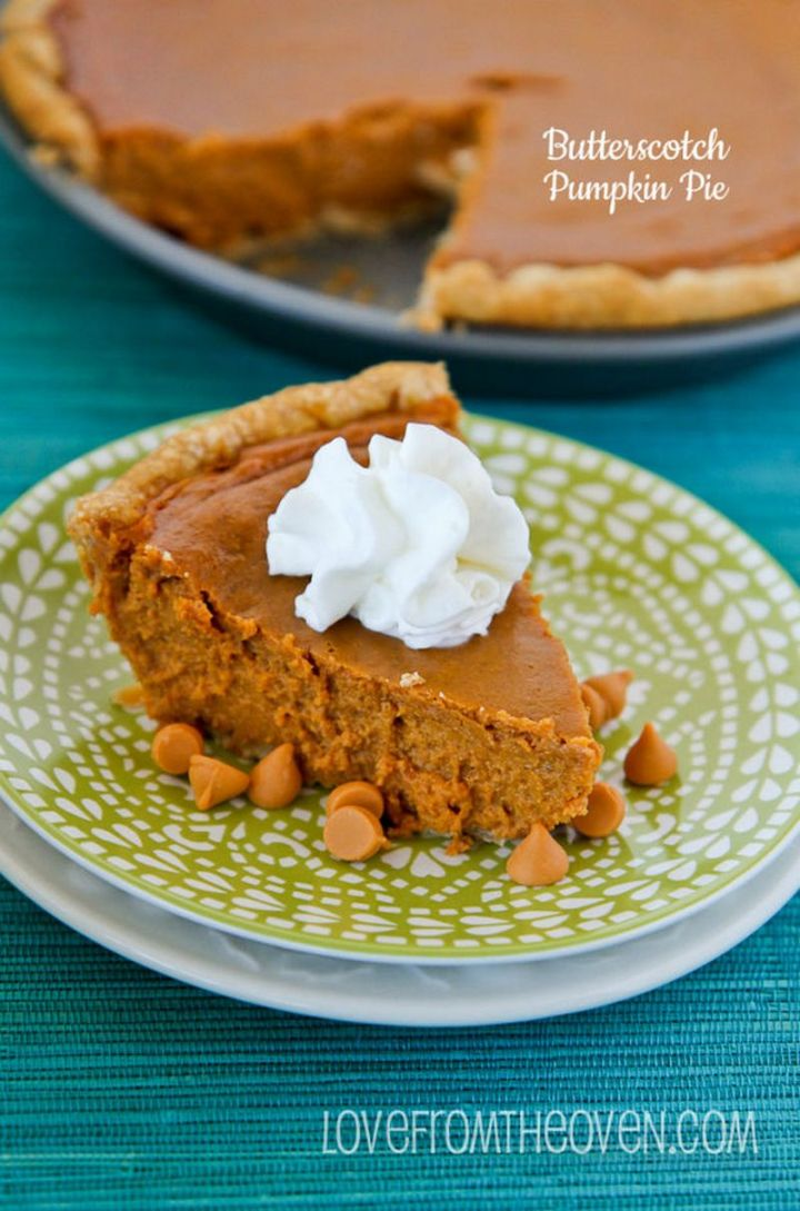 27 Pumpkin Pie Recipes - Butterscotch Pumpkin Pie.