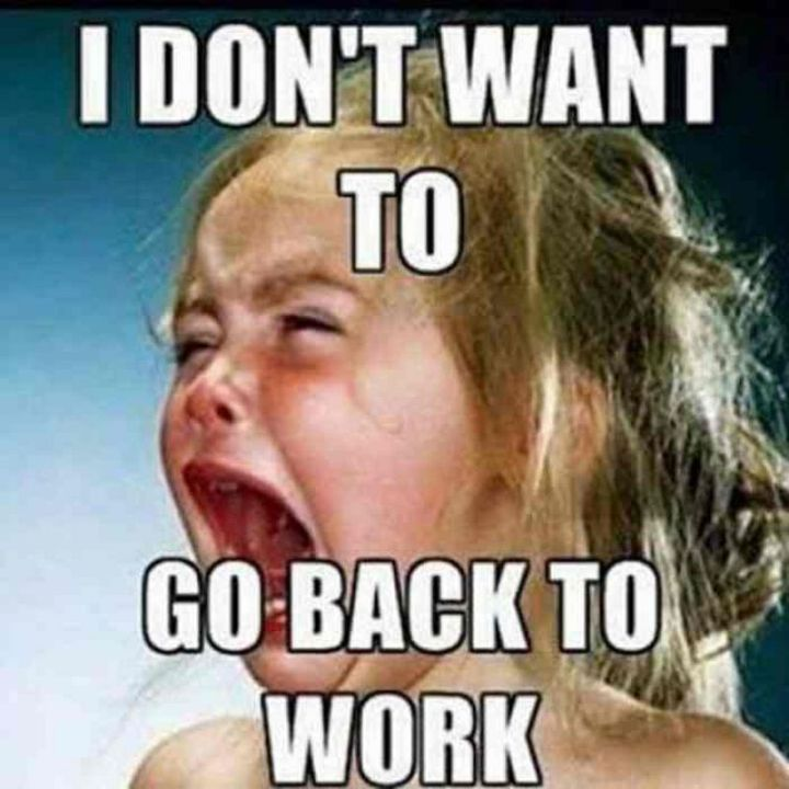 """21 Back to Work Memes - """"I don't want to go back to work."""""""