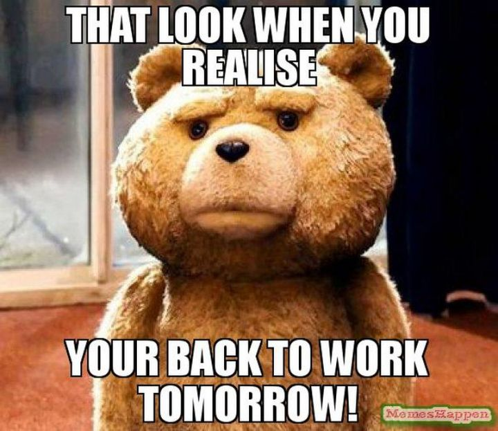 """21 Back to Work Memes - """"That look when you realize you're back to work tomorrow!"""""""