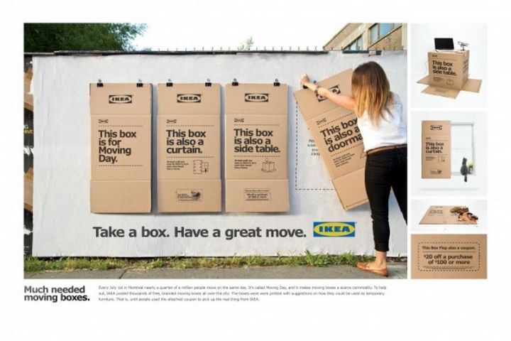 27 Awesome Billboards - If there is one thing we never have enough when moving, it's cardboard boxes. IKEA provides free cardboard boxes to customers.