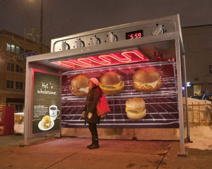 "27 Awesome Billboards - To launch their new ""Hot 'n Wholesome"" menu in grand fashion, Caribou Coffee modified some bus stops to look like a warm oven."