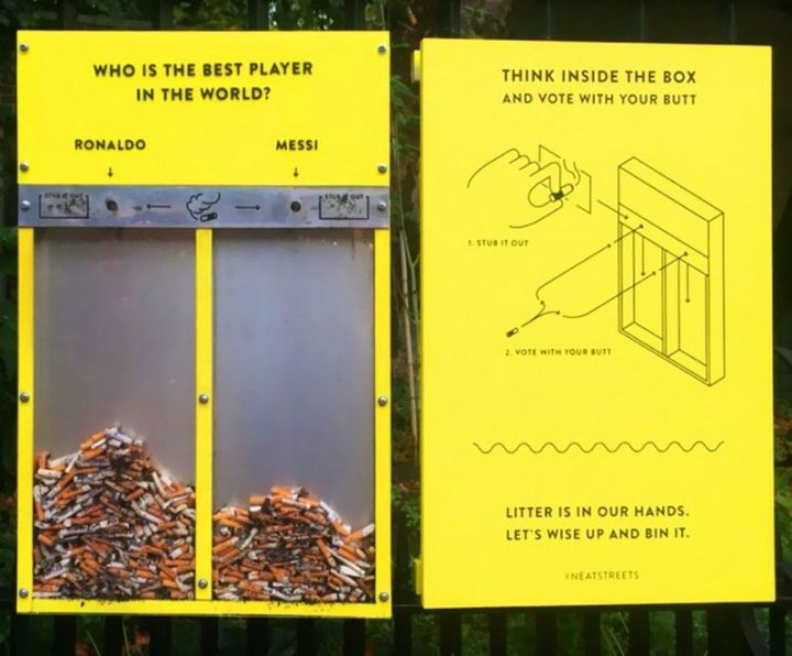 27 Awesome Billboards - Yellow ballot boxes in Great Britain let residents vote with their butts...Cigarette butts that is.