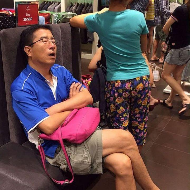 Miserable Men - His handbag doesn't match his shirt. Just sayin'