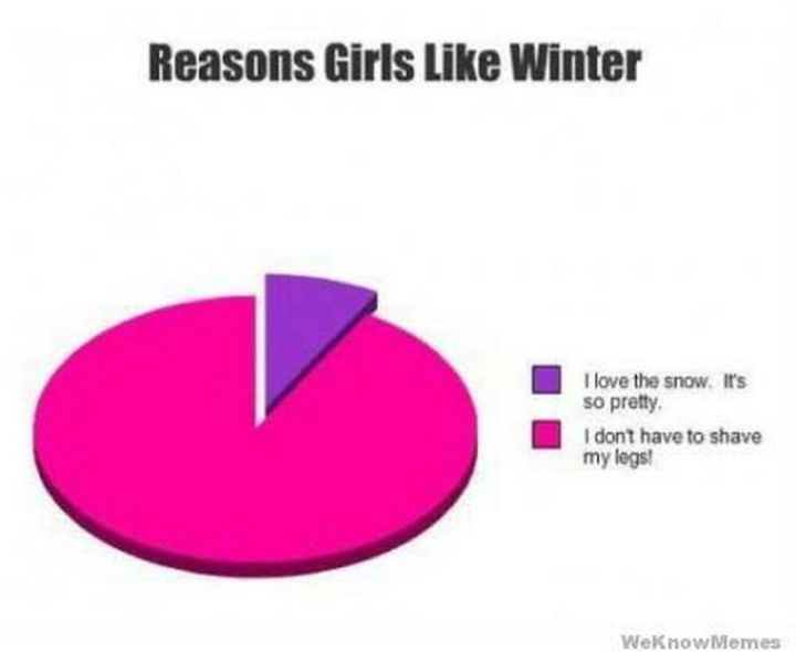 "55 Funny Winter Memes - ""Reasons girls like winter. I love the snow, it's pretty. I don't have to shave my legs!"""