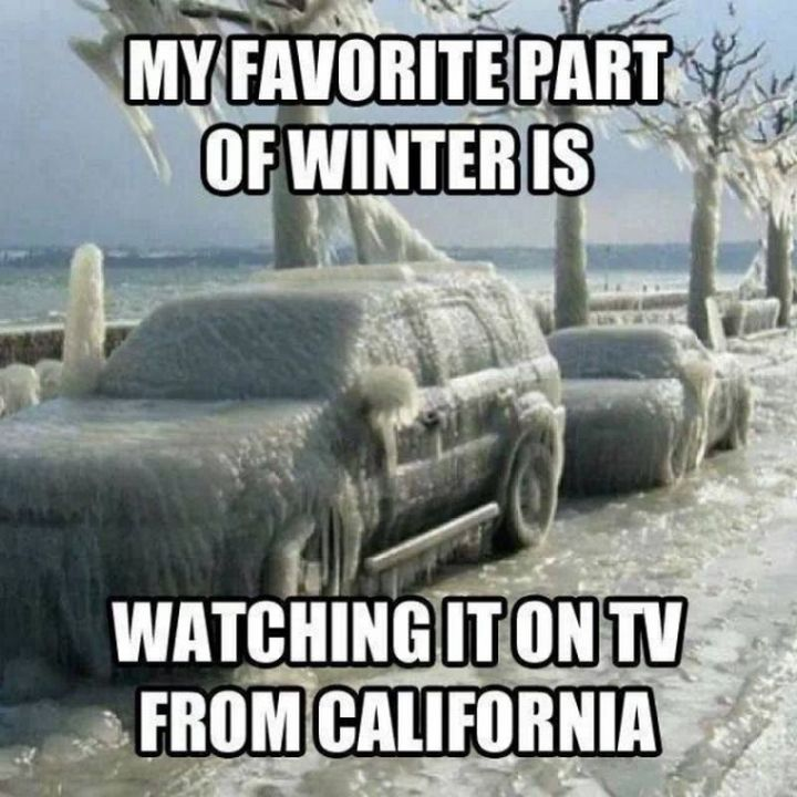 "55 Funny Winter Memes - ""My favorite part of winter is watching it on TV from California."""