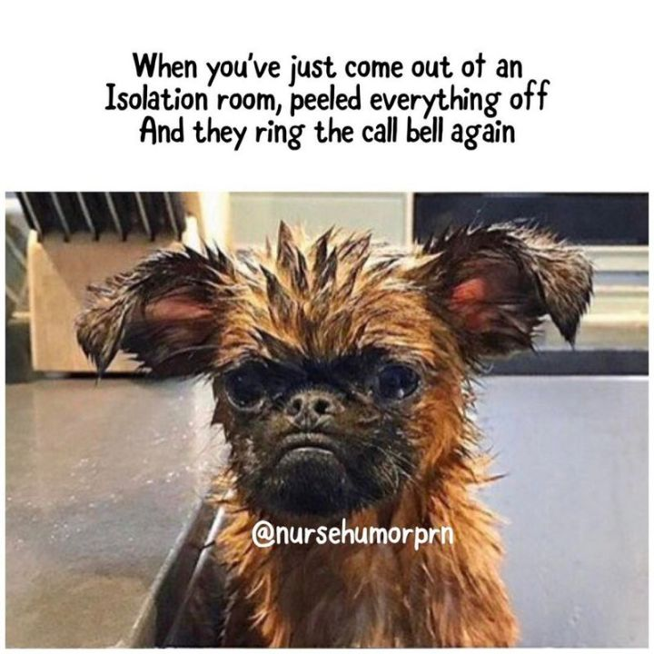 """101 Funny Nursing Memes - """"When you've just come out of an isolation room, peeled everything off and they ring the call bell again."""""""