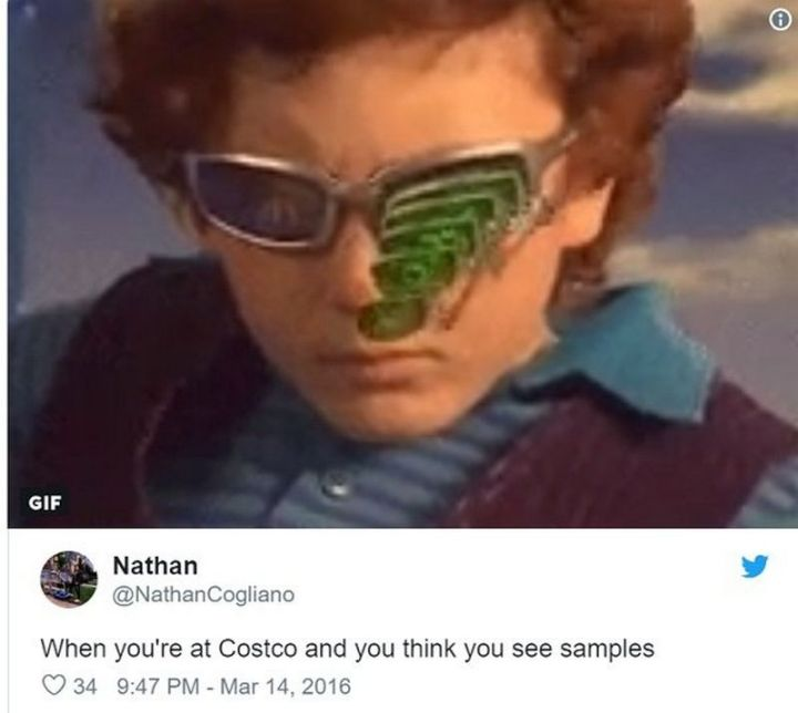 "29 Funny Costco Memes - ""When you're at Costco and you think you see samples."""