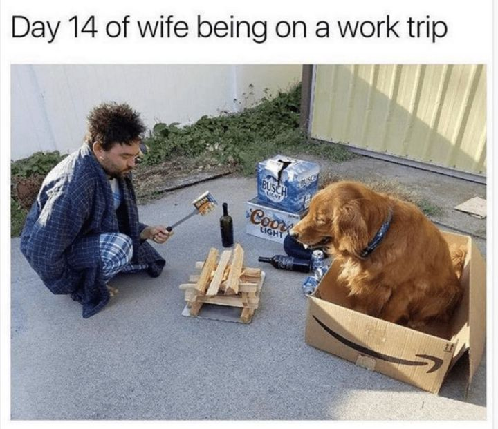 """101 Smile Memes - """"Day 14 of wife being on a work trip."""""""
