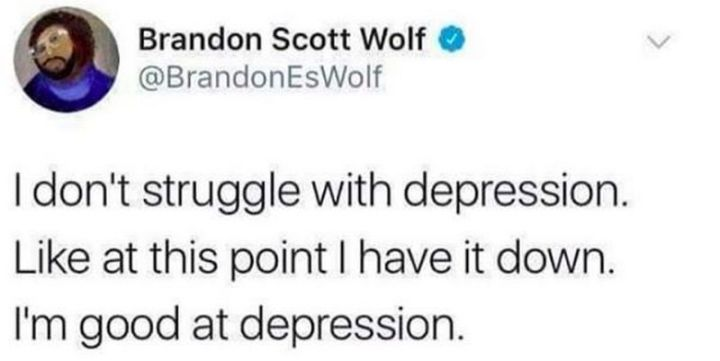 "61 Depression Memes - ""I don't struggle with depression. Like at this point I have it down. I'm good at depression."""