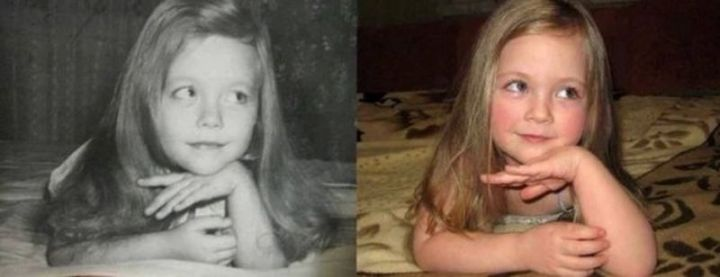 """35 Then and now pictures - """"On the left was the mother in 1980. Now in 2014, her daughter."""""""