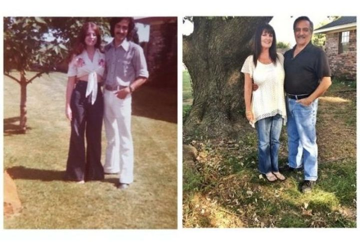 """35 Then and now pictures - """"Then and now pictures of my parents standing by their tree in 1975 and now in 2016."""""""