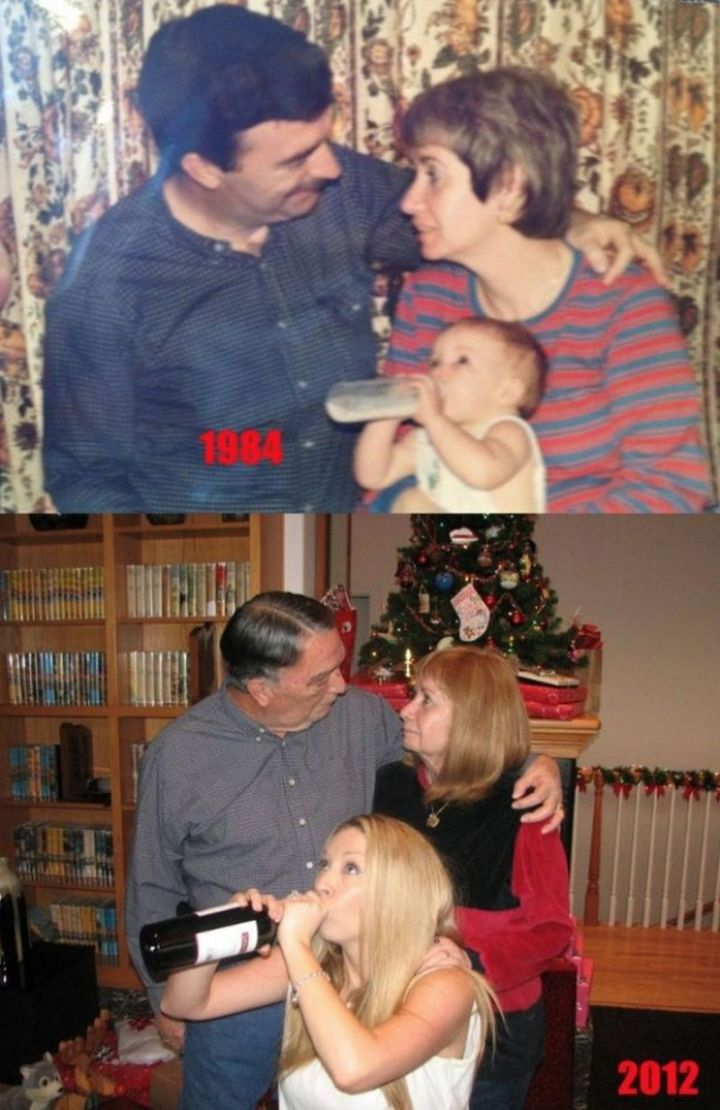 """35 Then and now pictures - """"Christmas 1984 to Christmas 2012. The only thing that has changed is my choice of bottled beverage."""""""