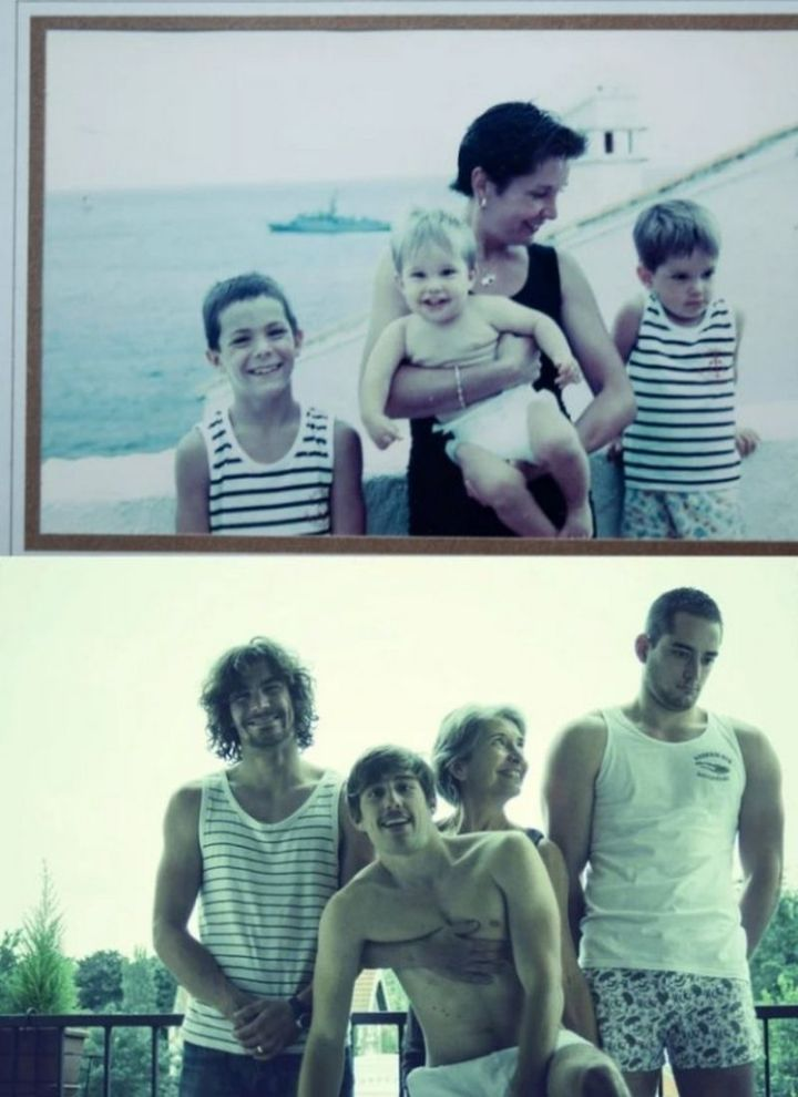 """35 Then and now pictures - """"Then and now pictures of a loving mom with her three sons!"""""""