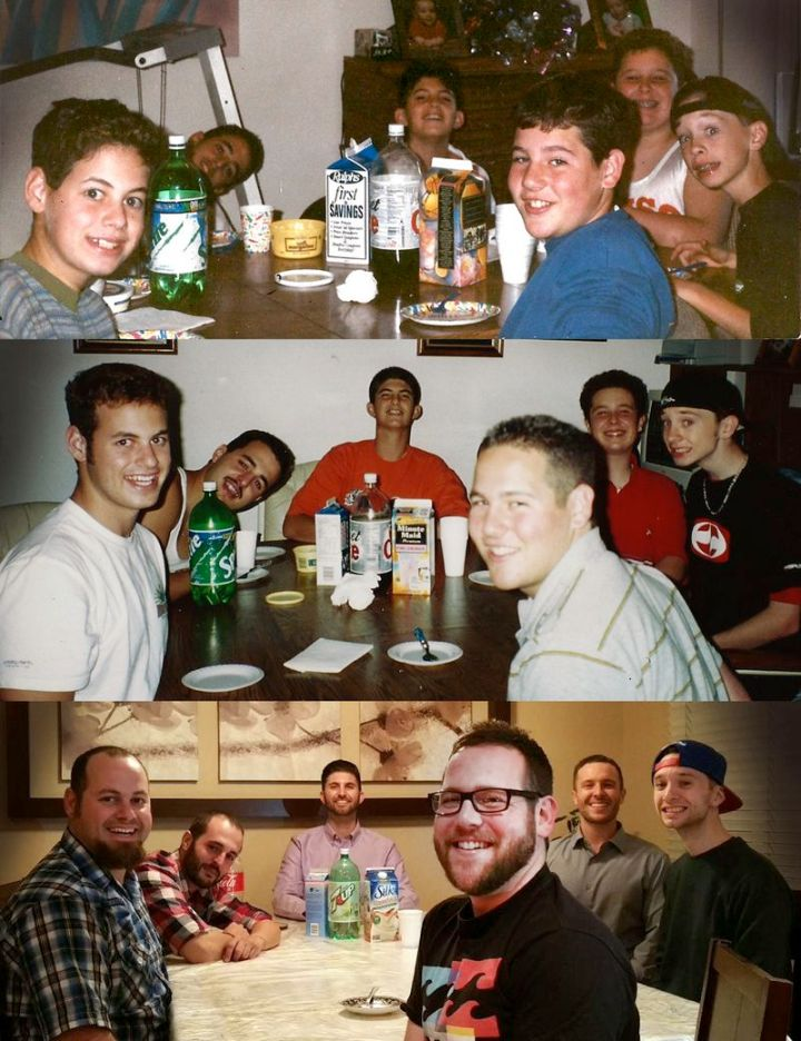 """35 Then and now pictures - """"Best Buddies at 10, 17 and 29 years old."""""""