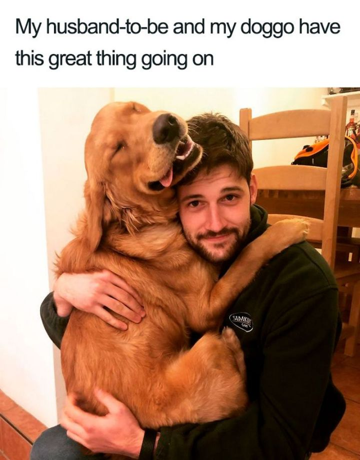 "55 Cute Dog Posts - ""My husband-to-be and my doggo have this great thing going on."""