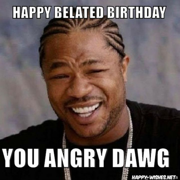 """85 Happy Belated Birthday Memes - """"Happy belated birthday you angry dawg."""""""