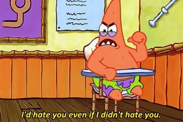 "Funny SpongeBob Memes - ""I'd hate you even if I didn't hate you."""