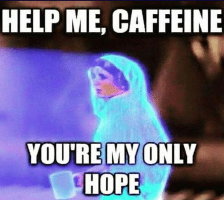 """61 Funny Clean Memes - """"Help me, caffeine. You're my only hope."""""""