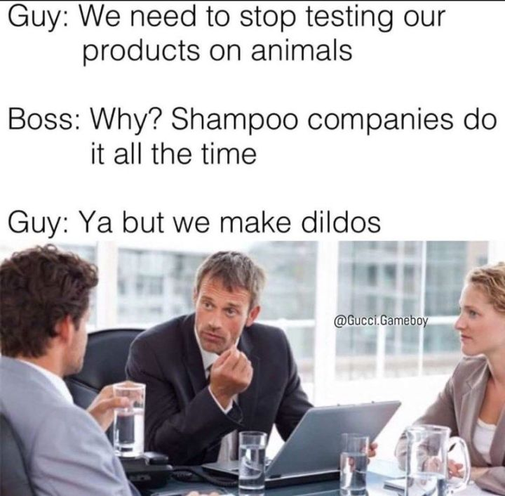 "67 Hilarious Memes - ""Guy: We need to stop testing our products on animals. Boss: Why? Shampoo companies do it all the time. Guy: Ya but we make dildos."""