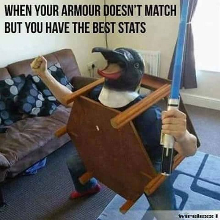 "67 Hilarious Memes - ""When your armor doesn't match but you have the best stats."""