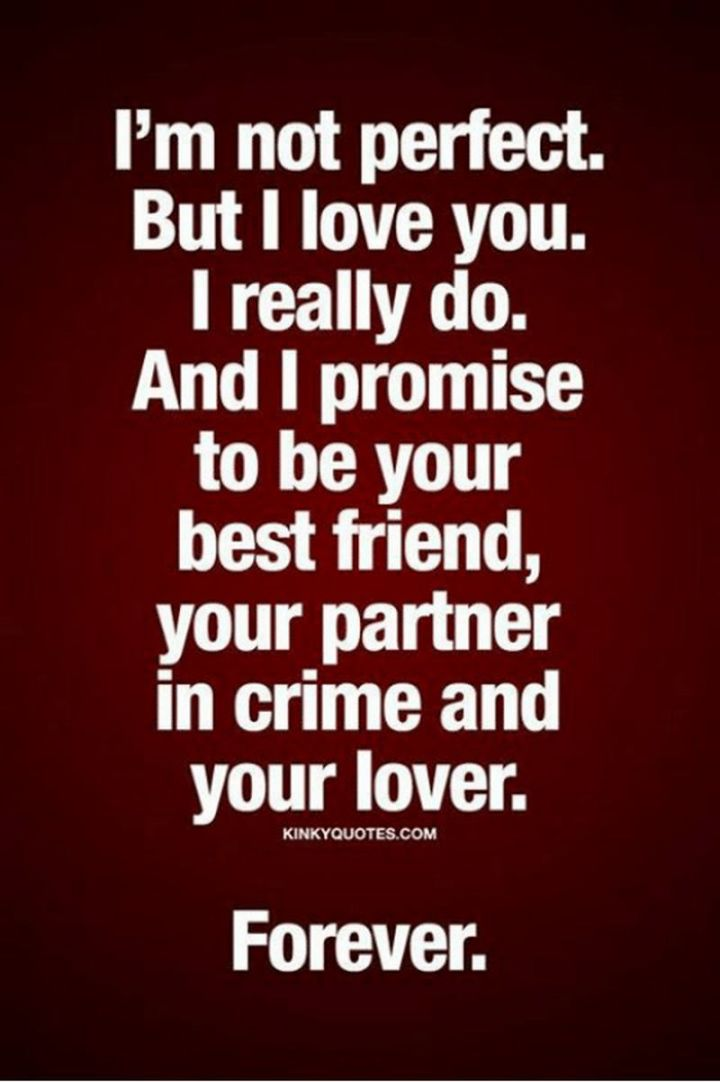 "55 Love Memes - ""I'm not perfect. But I love you. I really do. And I promise to be your best friend, your partner in crime and your lover. Forever."""
