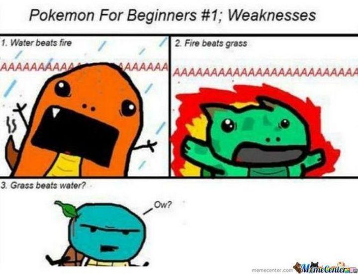 """71 Pokémon memes - """"Pokémon for beginners #1: Weaknesses. 1) Water beats fire. 2) Fire beats grass. 3) Grass beats water."""""""