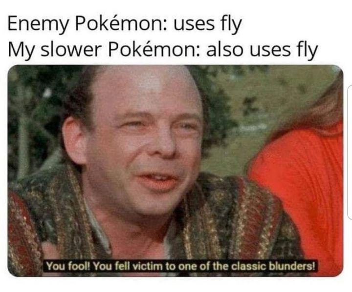 """71 Pokémon memes - """"Enemy Pokémon: Uses fly. My slower Pokémon: Also uses fly."""""""