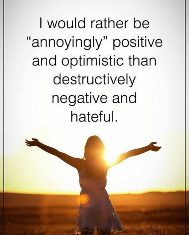 """59 Positive Memes - """"I would rather be 'annoyingly' positive and optimistic than destructively negative and hateful."""""""
