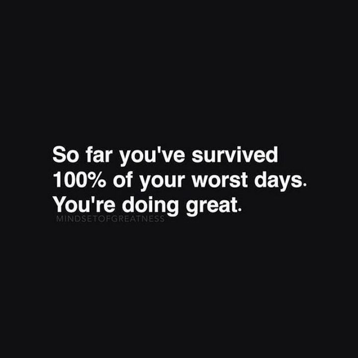 """59 Positive Memes - """"So far you've survived 100% of your worst days. You're doing great."""""""