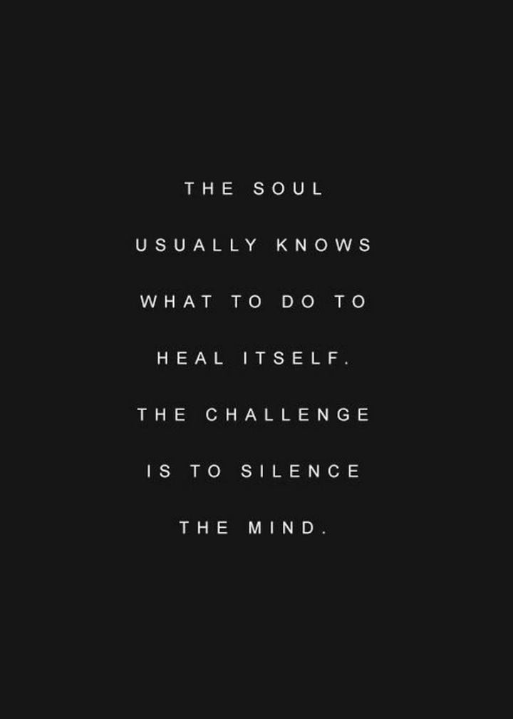 """59 Positive Memes - """"The soul usually knows what to do to heal itself. The challenge is to silence the mind."""""""