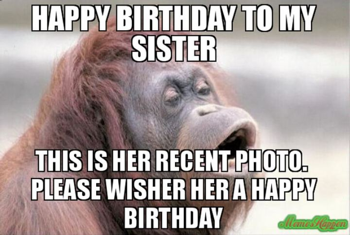 "91 Sister Birthday Memes - ""Happy birthday to my sister. This is her recent photo. Please wisher her a happy birthday."""