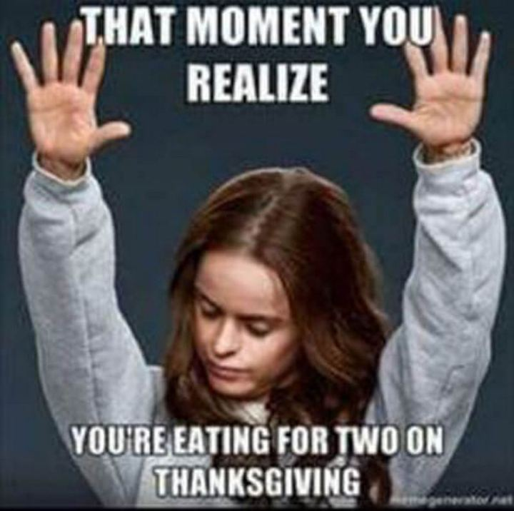 "71 Pregnancy Memes - ""That moment you realize you're eating for two on Thanksgiving."""