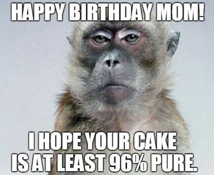 """101 Happy Birthday Mom Memes - """"Happy birthday mom! I hope your cake is at least 96% pure."""""""