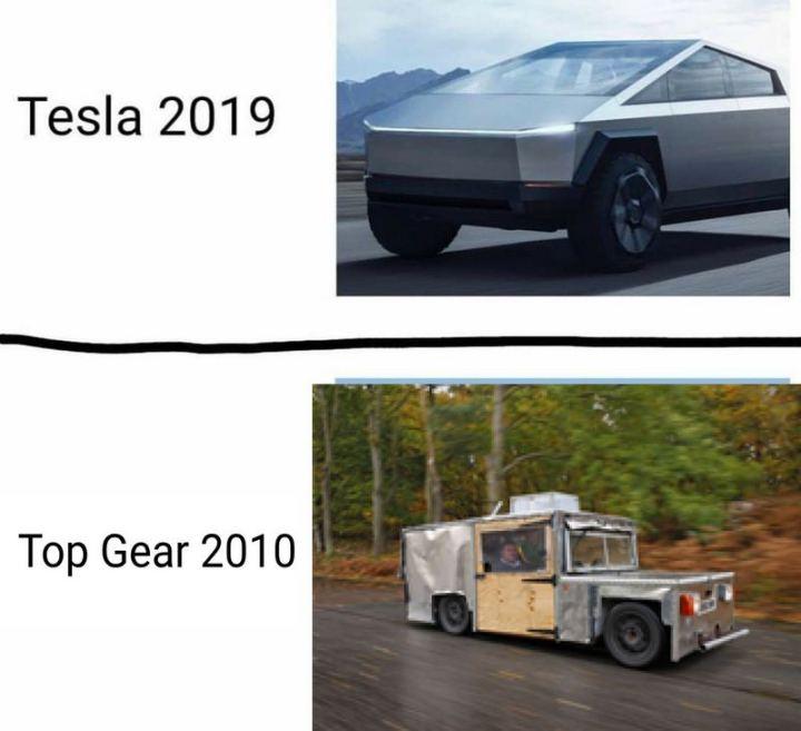 "85 Car Memes - ""Tesla 2019. Top Gear 2010."""