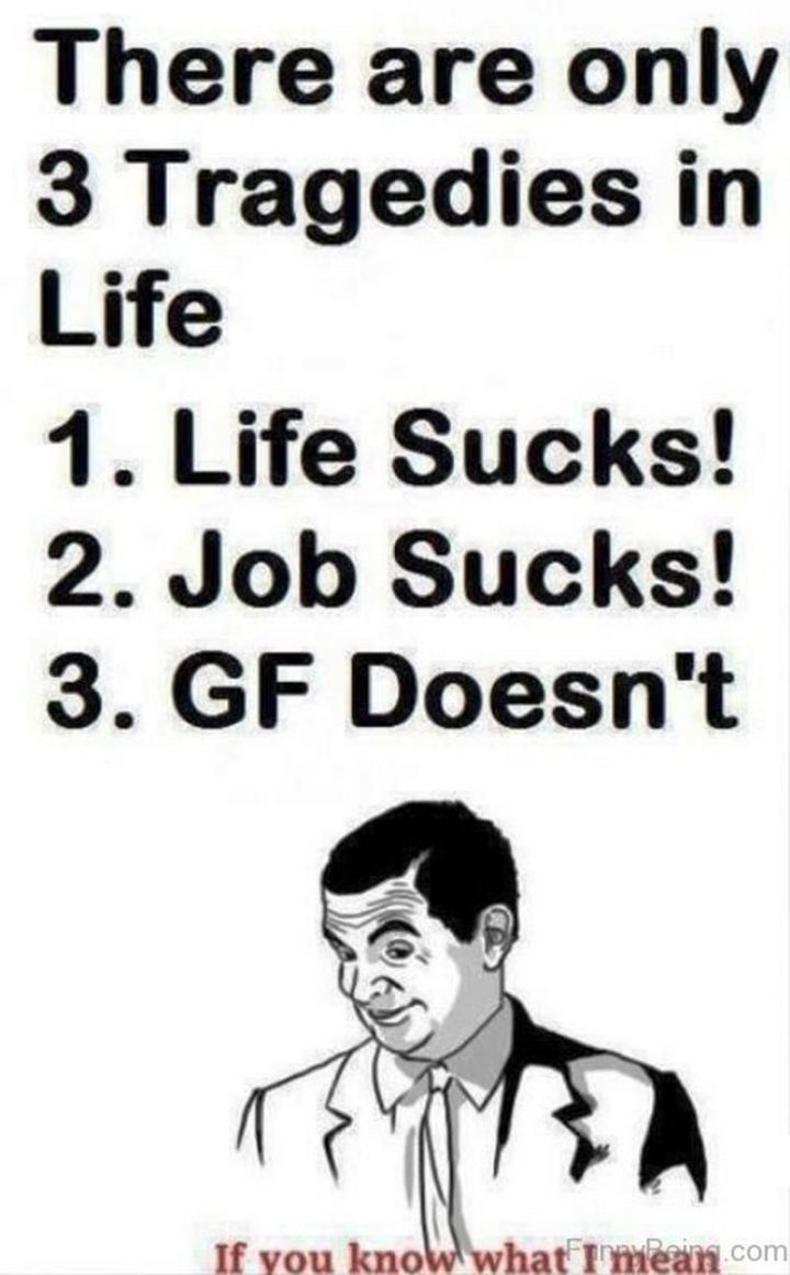 """81 Funny Life Memes - """"There are only 3 tragedies in life: 1) Life sucks! 2) Job sucks! 3) GF doesn't...If you know what I mean."""""""