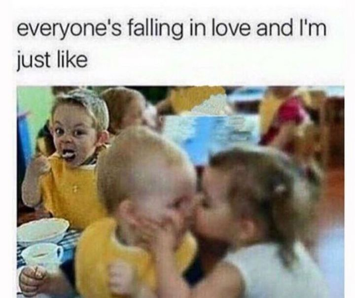 "67 Funny Single Memes - ""Everyone's falling in love and I'm just like."""