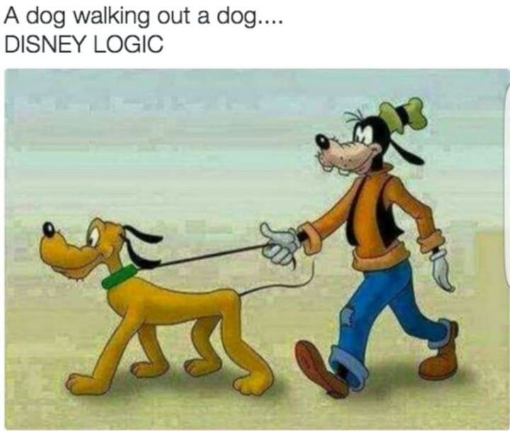 "51 Funny Disney Memes - ""A dog walking out a dog...DISNEY LOGIC."""