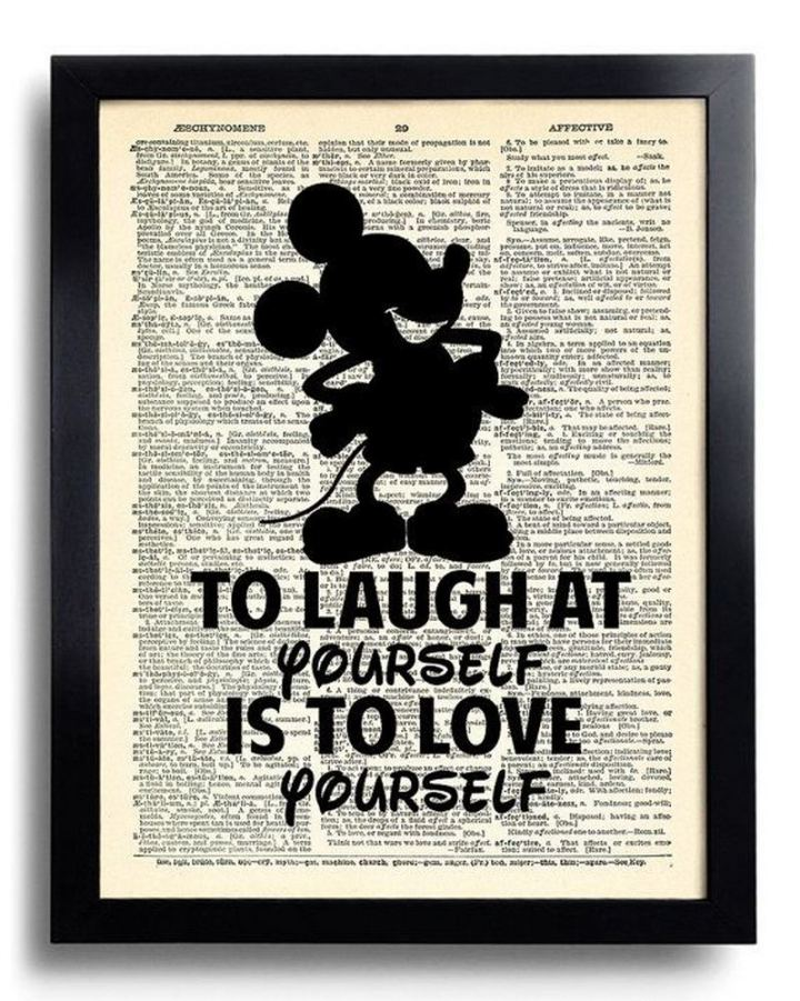 """61 Inspirational Disney Quotes - """"To laugh at yourself is to love yourself."""" - Mickey Mouse"""