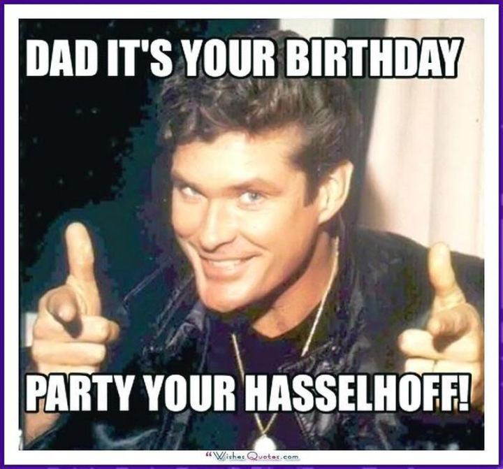 """47 Happy Birthday Dad Memes - """"Dad it's your birthday. Party your Hasselhoff!"""""""