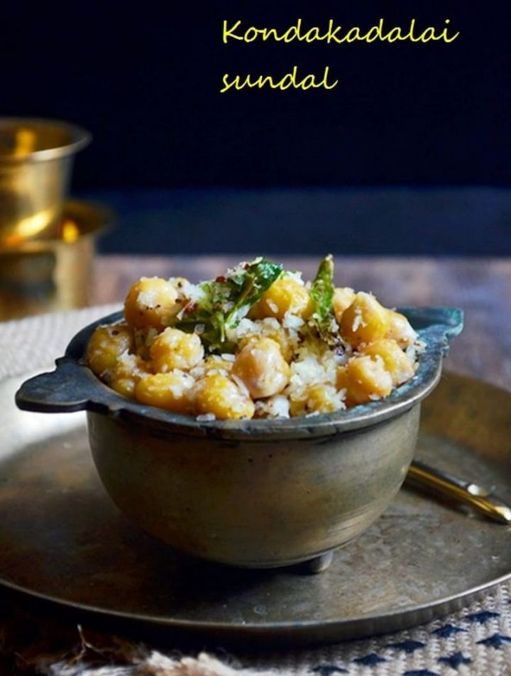35 Indian Appetizer Recipes - Kondakadalai Sundal (Chickpea Sundal).