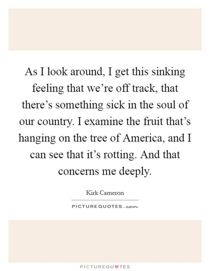 """53 Sick Quotes - """"As I look around, I get this sinking feeling that we're off track, that there's something sick in the soul of our country. I examine the fruit that's hanging on the tree of America, and I can see that it's rotting. And that concerns me deeply."""" - Sick quotes by Kirk Cameron"""