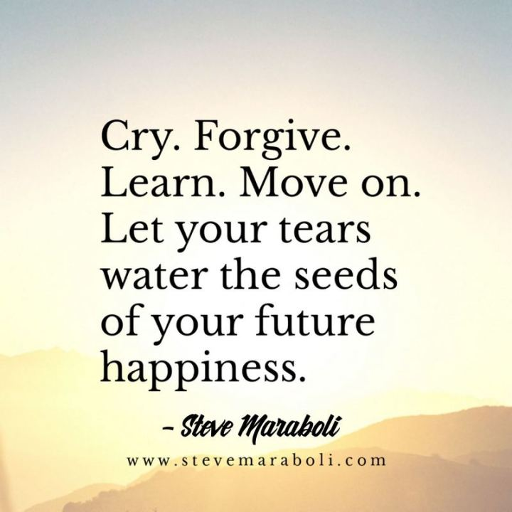 "53 Happy Quotes - ""Cry. Forgive. Learn. Move on. Let your tears water the seeds of your future happiness."" - Steve Maraboli"